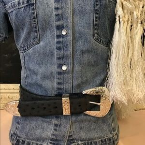 Accessories - Western Style Top Grain Leather Rhinestone Buckle